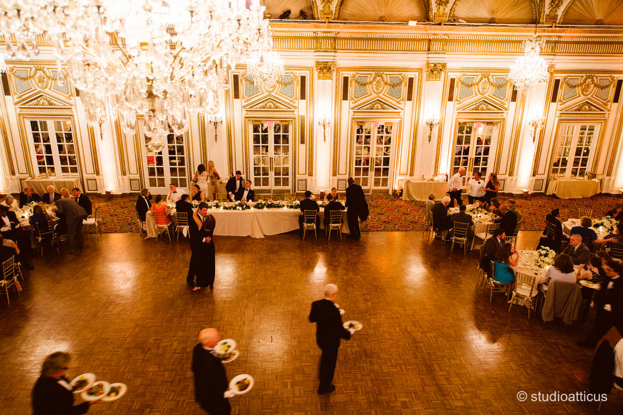 dinner service at a boston fairmont copley plaza wedding reception