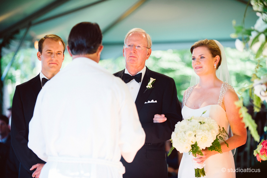 beautiful tented ceremony at a Hopple Popple wedding in Osterville, MA