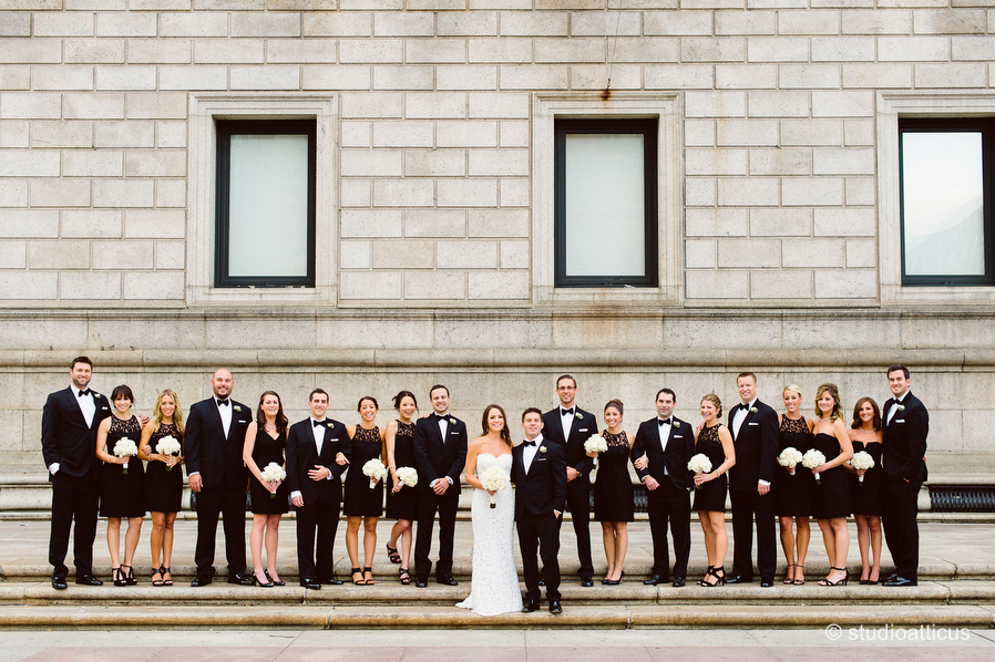 wedding party portrait on the front steps for a Boston Public Library wedding