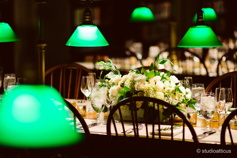 Bates Hall decorated for a Boston Public Library wedding