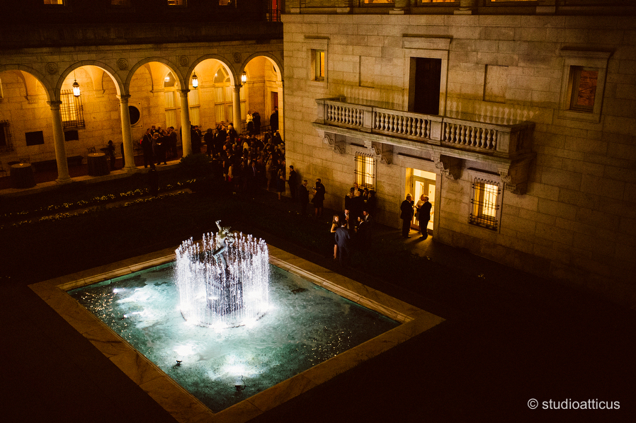 the courtyard at a Boston Public Library wedding