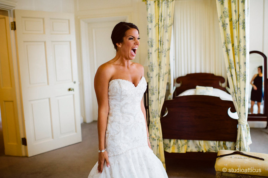 the bride prepares in the bridal suite on her wedding day at the Crane Estate
