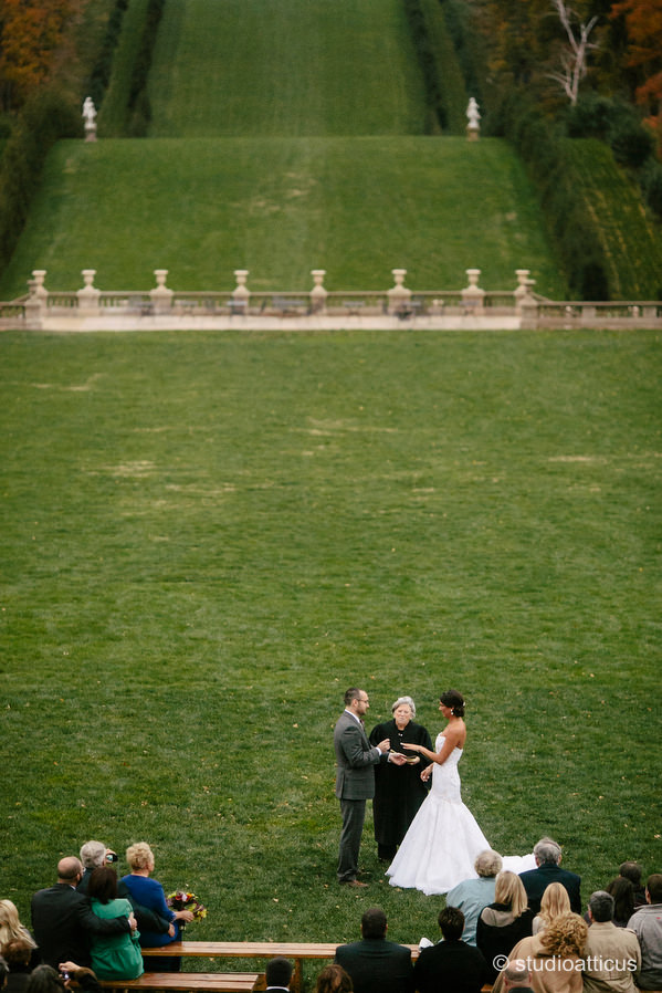 Wedding Ceremony at the grand allee at the Crane Estate at Castle Hill