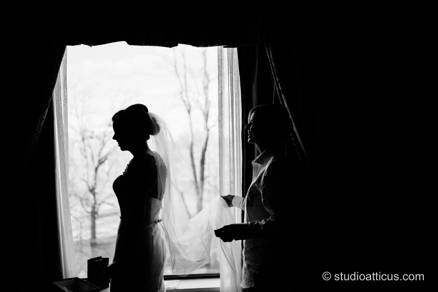 Final bridal preparations at the Four Seasons Hotel in Boston.