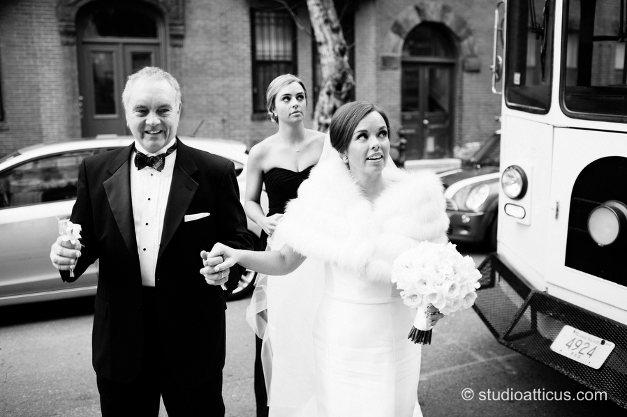 The bride arrives at Our Lady of Victories in Boston for her wedding ceremony.