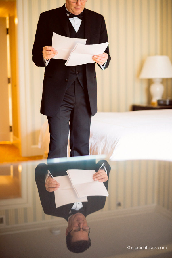 The groom prepares at the Boston Four Seasons hotel for his wedding