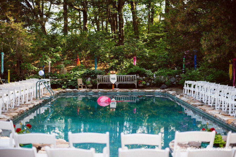 Ceremony setup around the swimming pool for a backyard wedding in Concord