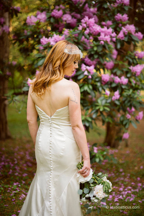 portrait of the bride at her backyard wedding in Concord