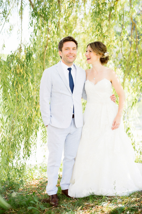 Portraits of the bride and groom before their Musuem of Science wedding
