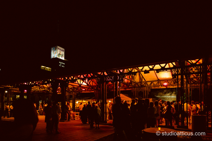 the pavilion at night during a Museum of Science wedding