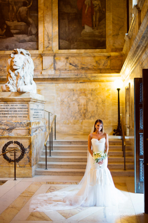 Bridal portraits on the Grand Staircase before a Boston Public Library Courtyard wedding