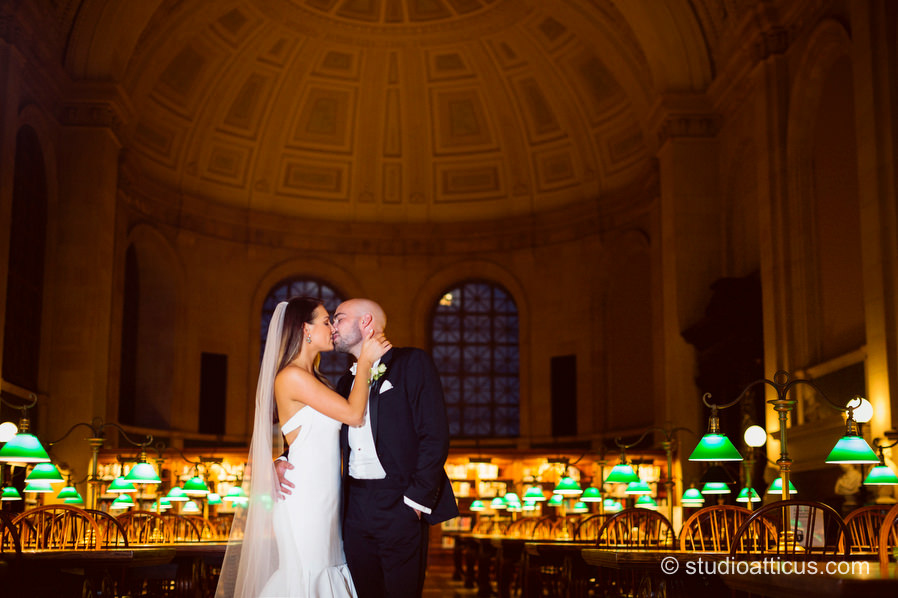 Portraits of the couple on their wedding day in Bates Hall of the Boston Public Library.