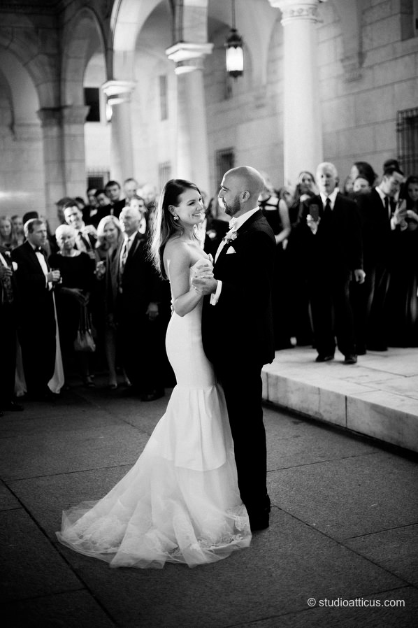 First dance at a Boston Public LIbrary Courtyard wedding