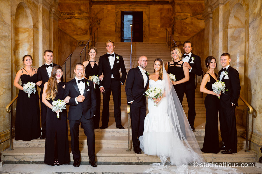 Portrait of the wedding party on the Grand Staircase at the Boston Public Library.
