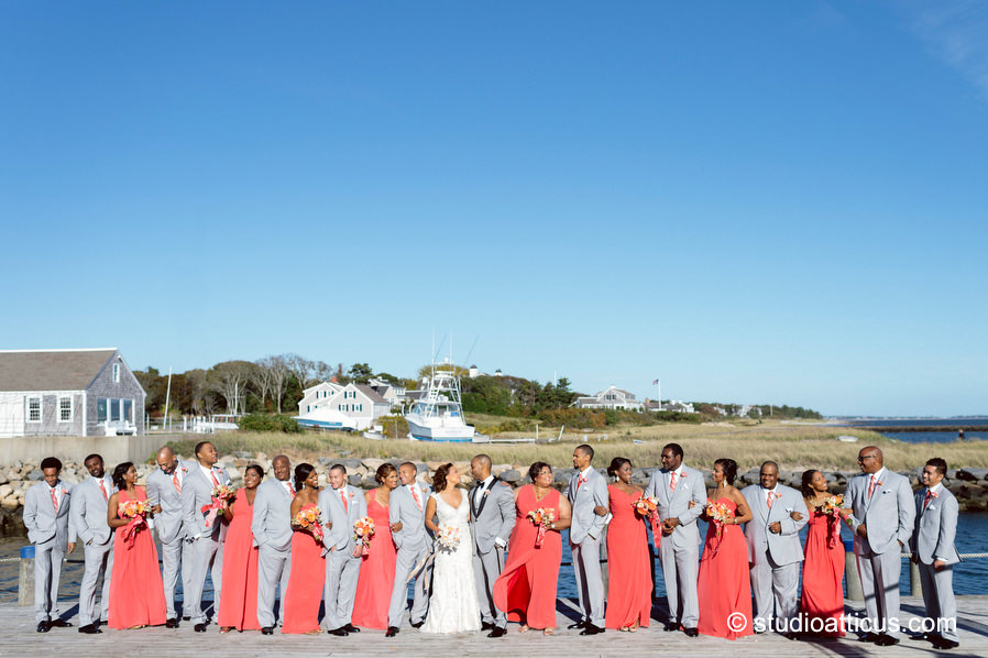 portrait of the wedding party at a cape cod wychmere beach club wedding