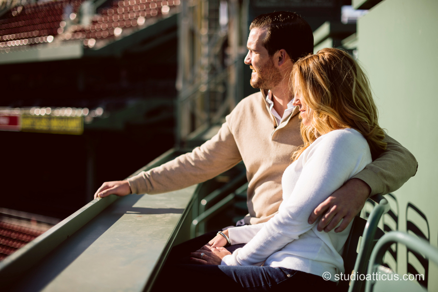 Engagement session in Green Monster seats at Fenway Park
