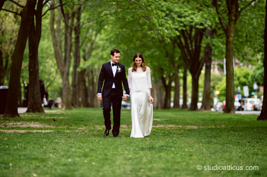 The bride and groom enjoy a private moment on the Commonwealth Avenue Mall prior to their Menton wedding in Boston.