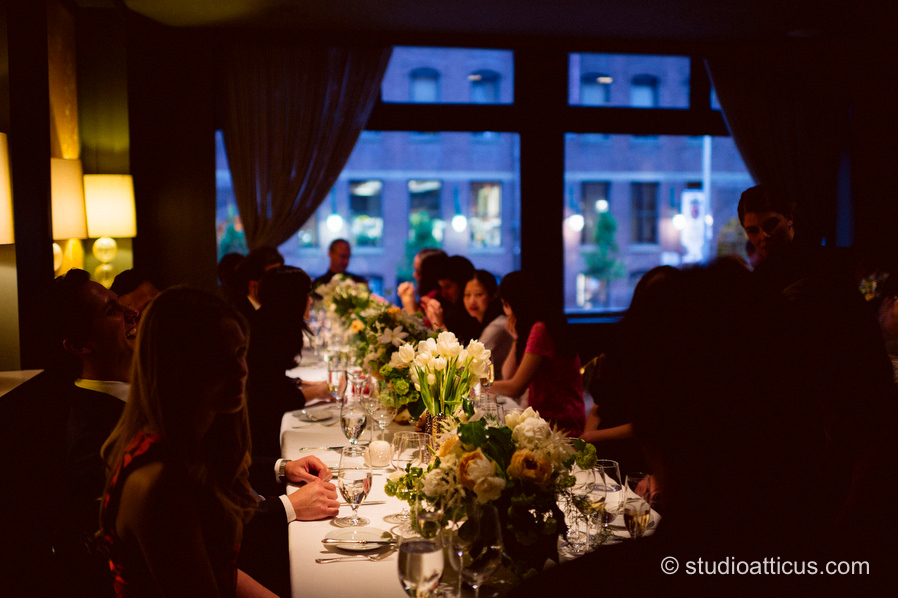 Guests enjoy the ambiance at a beautiful Menton wedding in Boston