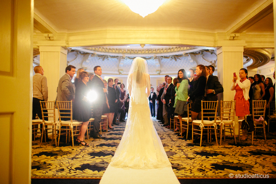 Bride Processes Down The Aisle In Dome Room During A Lenox Hotel Wedding 022 023 024